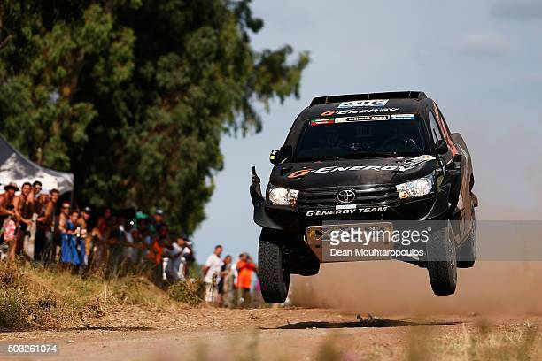 Vladimir Vasilyev of Russia and Konstantin Zhiltsov of Russia in the TOYOTA HILUX for GENERGY TEAM compete in the Dakar Rally Prologue on January 2...