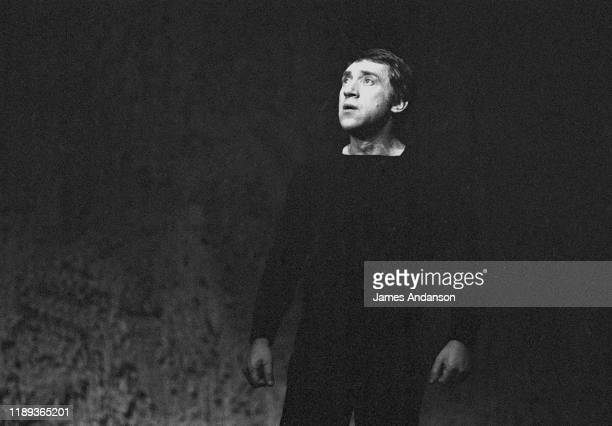 Vladimir Vysotsky a Russian antiestablishment actor poet songwriter and singer rehearses Shakespeare's Hamlet directed by Russian stage director Yuri...