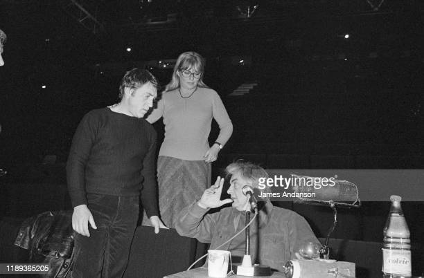 Vladimir Vysotsky a Russian antiestablishment actor poet songwriter and singer at a rehearsal of Shakespeare's Hamlet with Russian stage director...
