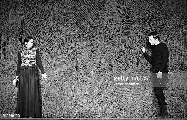 Vladimir Vysotsky a Russian antiestablishment actor poet songwriter and singer in the Soviet Union rehearses Shakespeare's Hamlet directed by Russian...