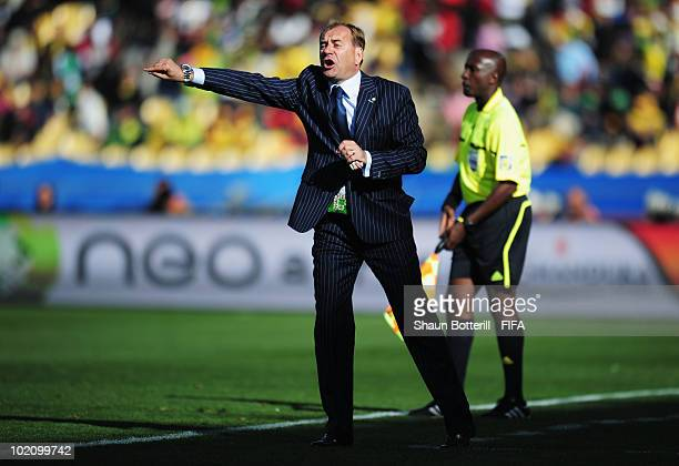 Vladimir Weiss head coach of Slovakia gives instructions to his players during the 2010 FIFA World Cup South Africa Group F match between New Zealand...