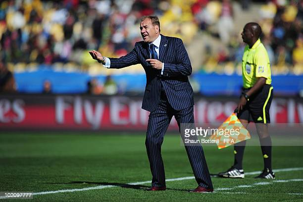 Vladimir Weiss head coach of Slovakia issues instructions from the sideline during the 2010 FIFA World Cup South Africa Group F match between New...