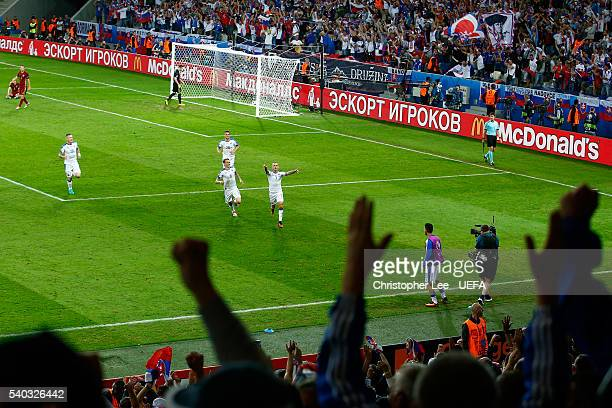 Vladimir Weiss of Slovakia celebrates scoring his sides first goal during the UEFA EURO 2016 Group B match between Russia and Slovakia at Stade...