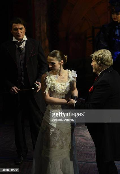 Vladimir Zeldin who has a lifetime achievement award and Maria Orlova perform on the stage during the staging of Fyodor Dostoyevsky's 'Uncle's Dream'...