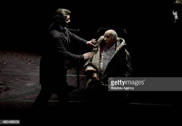 Vladimir Zeldin who has a lifetime achievement award performs on the stage during the staging of Fyodor Dostoyevsky's 'Uncle's Dream' play at the...