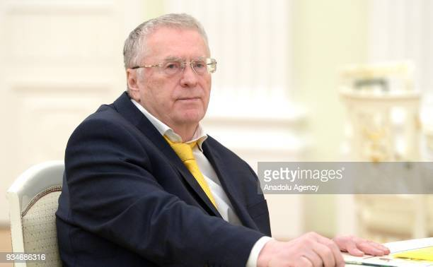 Vladimir Zhirinovsky presidential candidate from the Russian Liberal Democratic Party is seen ahead of a meeting of Russia's President Vladimir Putin...