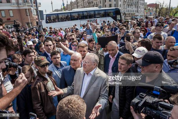 Vladimir Zhirinovsky russian parliament member talks with manifestants during a demonstration in Moscow Russia on 5 May 2018