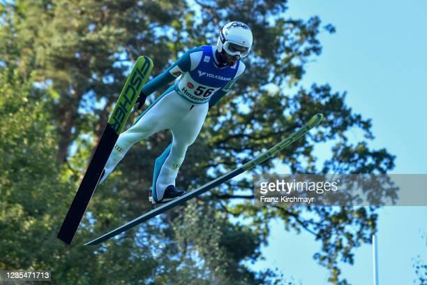 Vladimir Zografski of Bulgaria competes during the FIS Grand Prix Skijumping Hinzenbach at on February 6, 2021 in Eferding, Austria.