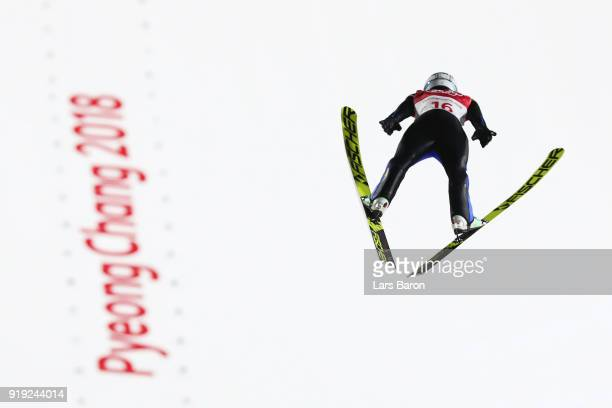 Vladimir Zografski of Bulgaria makes a jump during the Ski Jumping Men's Large Hill on day eight of the PyeongChang 2018 Winter Olympic Games at...