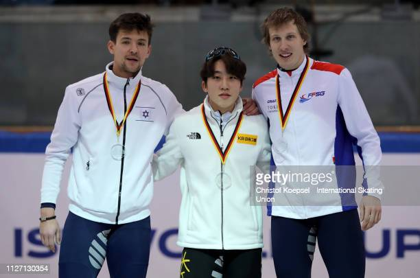 Vladislav Bykanov of Israel celebrates winning the second place Park Ji Won of Republic of Korea celebrates winning the first place and Sebastien...