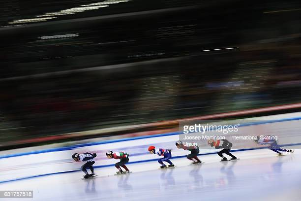 Vladislav Bykanov of Israel leads the pack in the Men's 5000m Super Final during day 2 of the European Short Track Speed Skating Championships at...