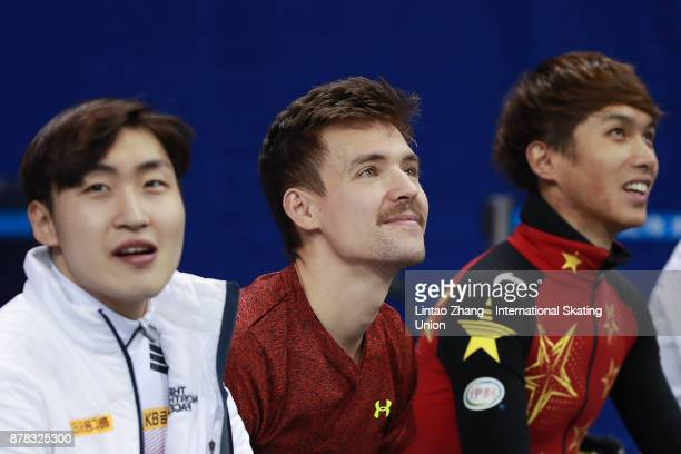 Vladislav Bykanov of Israel Yong Jin Lim and Jiwon Park of Korea Chen Dequan of China looks on before competes in the Men's 1000m final duirng the...