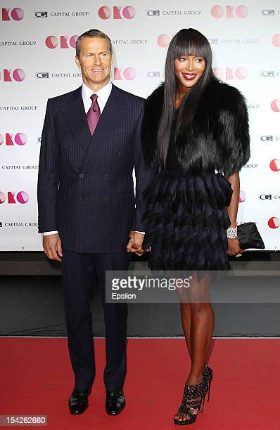 Vladislav Doronin and Naomi Campbell attend the presentation of the new Capital Group skyscraper development project 'OKO' in the 'Moscow City' MMDT...
