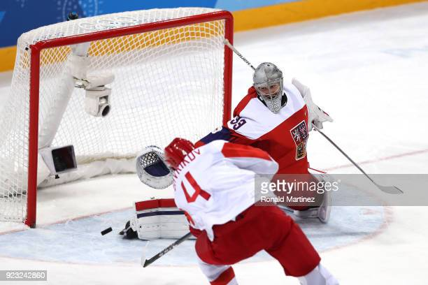 Vladislav Gavrikov of Olympic Athlete from Russia shoots and scores against Pavel Francouz of the Czech Republic in the second period during the...