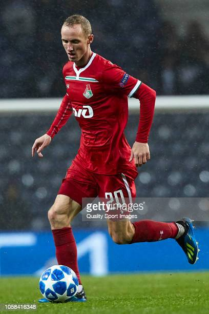 Vladislav Ignatyev of Lokomotiv Moscow controls the ball during the Group D match of the UEFA Champions League between FC Porto and FC Lokomotiv...