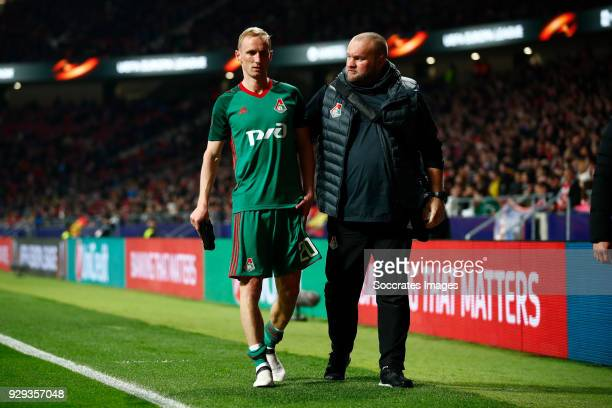 Vladislav Ignatyev of Lokomotiv Moscow during the UEFA Europa League match between Atletico Madrid v Lokomotiv Moscow at the Estadio Wanda...