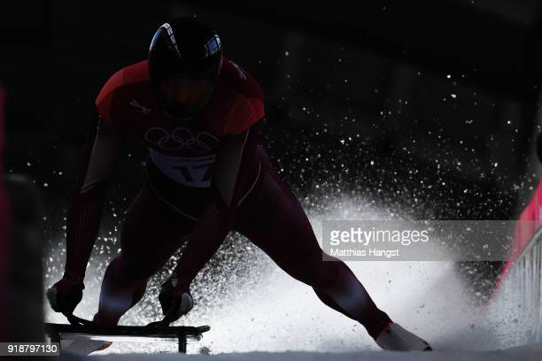 Vladislav Marchenkov of Olympic Athlete from Russia slides into the finish area during the Men's Skeleton heats at Olympic Sliding Centre on February...