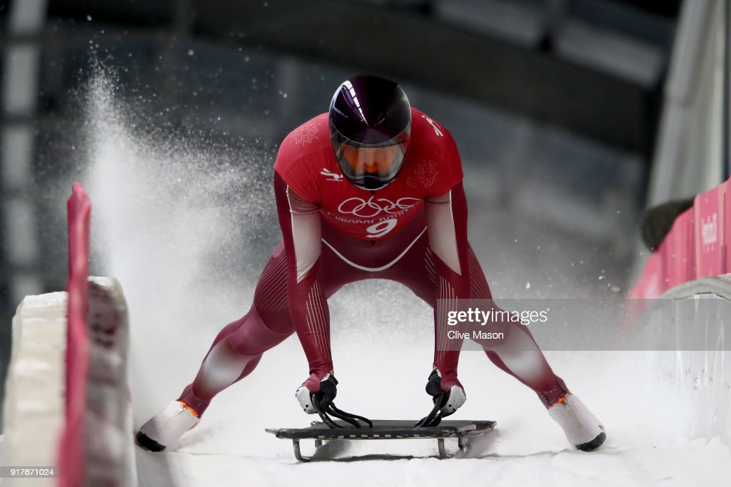 Vladislav Marchenkov of Olympic Athlete from Russia trains during the Mens Skeleton training session on day four of the PyeongChang 2018 Winter Olympic Games at Olympic Sliding Centre on February 13, 2018 in Pyeongchang-gun, South Korea.