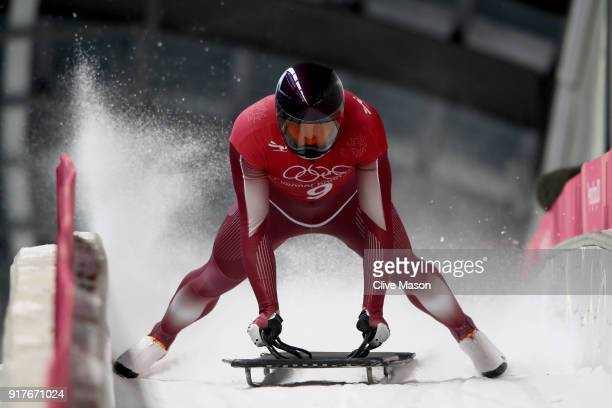 Vladislav Marchenkov of Olympic Athlete from Russia trains during the Mens Skeleton training session on day four of the PyeongChang 2018 Winter...