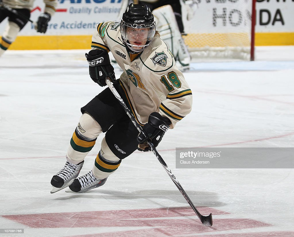 Vladislav Namestnikov #18 of the London Knights skates in a game against the Kingston Frontenacs on November 21, 2010 at the John Labatt Centre in London, Ontario, Canada. The Knights defeated the Frontenacs 4-3 in a shoot-out.