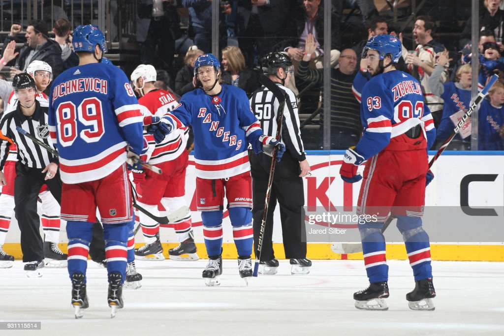 Vladislav Namestnikov #90 of the New York Rangers celebrates after scoring a goal in the second period against the Carolina Hurricanes at Madison Square Garden on March 12, 2018 in New York City.