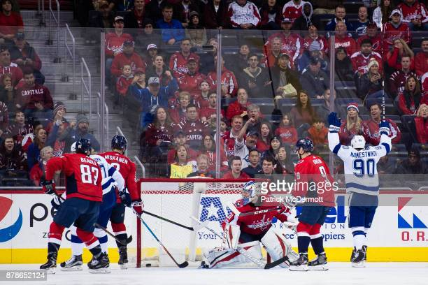 Vladislav Namestnikov of the Tampa Bay Lightning celebrates after scoring a first period goal against the Washington Capitals at Capital One Arena on...