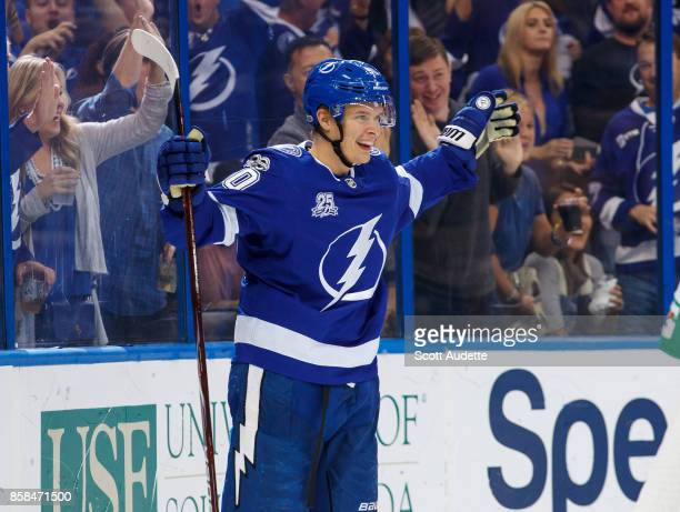 Vladislav Namestnikov of the Tampa Bay Lightning celebrates his goal against the Florida Panthers during the third period at Amalie Arena on October...