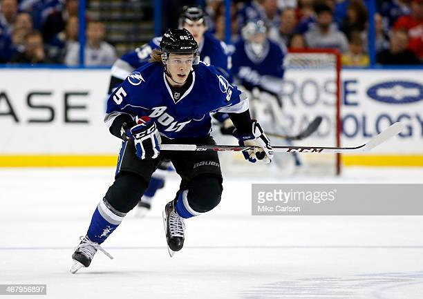 Vladislav Namestnikov of the Tampa Bay Lightning skates against the Detroit Red Wings at the Tampa Bay Times Forum on February 8 2014 in Tampa Florida