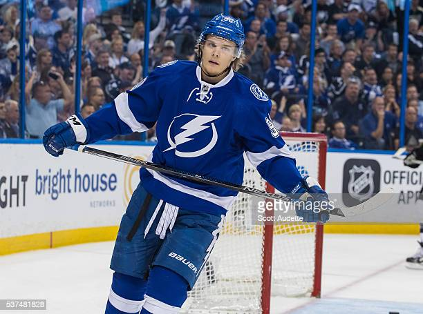 Vladislav Namestnikov of the Tampa Bay Lightning skates against the Pittsburgh Penguins during the third period of Game Four of the Eastern...