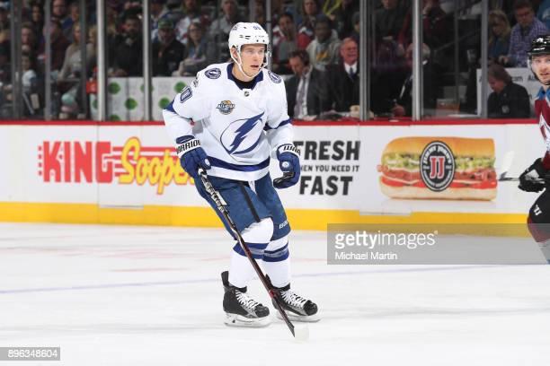 Vladislav Namestnikov of the Tampa Bay Lightning skates against the Colorado Avalanche at the Pepsi Center on December 16 2017 in Denver Colorado The...