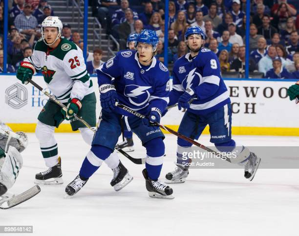 Vladislav Namestnikov of the Tampa Bay Lightning skates against the Minnesota Wild during the first period at Amalie Arena on December 23 2017 in...