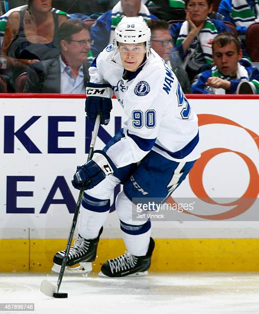 Vladislav Namestnikov of the Tampa Bay Lightning skates up ice with the puck during their NHL game against theVancouver Canucks at Rogers Arena...