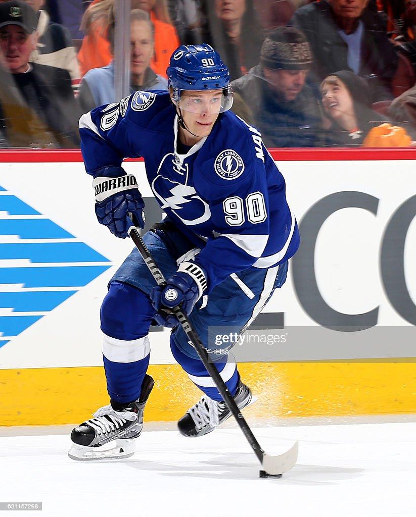 Vladislav Namestnikov #90 of the Tampa Bay Lightning takes the puck in the first period against the Philadelphia Flyers on January 7, 2017 at Wells Fargo Center in Philadelphia, Pennsylvania.