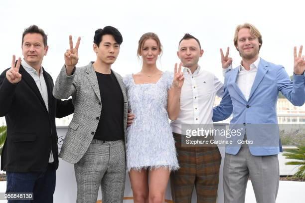 Vladislav Opelyants Teo Yoo Irina Starshenbaum Roman Zver and Ilya Stewart attend the Leto Photocall during the 71st annual Cannes Film Festival at...