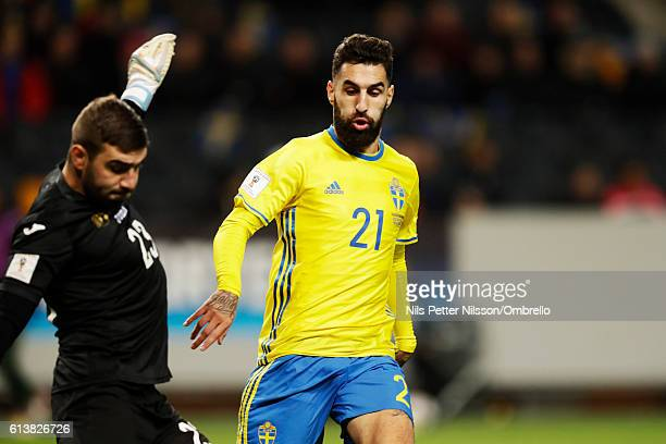 Vladislav Stoyanov of Bulgaria and Jimmy Durmaz of Sweden during the FIFA 2018 World Cup Qualifier between Sweden and Bulgaria at Friends Arena on...