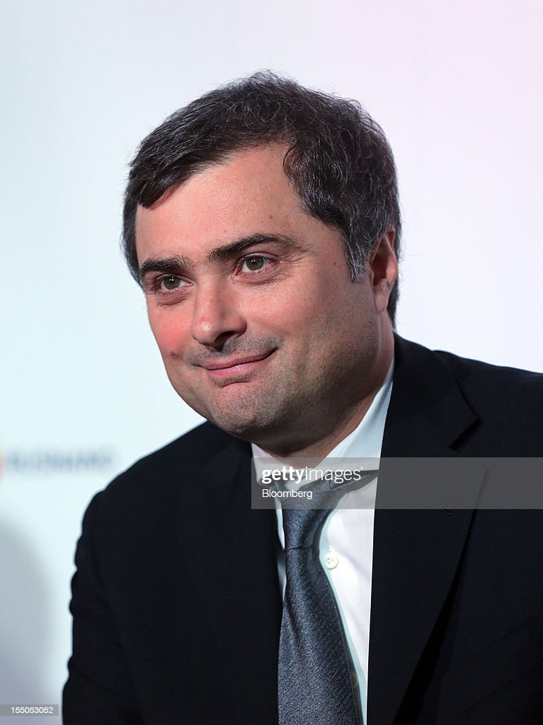 Vladislav Surkov, Russia's deputy prime minister, pauses during a session at the Open Innovations International Forum for Innovative Development in Moscow, Russia, on Wednesday, Oct. 31, 2012. The Forum brings together representatives from business, the authorities, and sciences, to share experiences and analyse fundamental global trends. Photographer: Andrey Rudakov/Bloomberg Vladislav Surkov