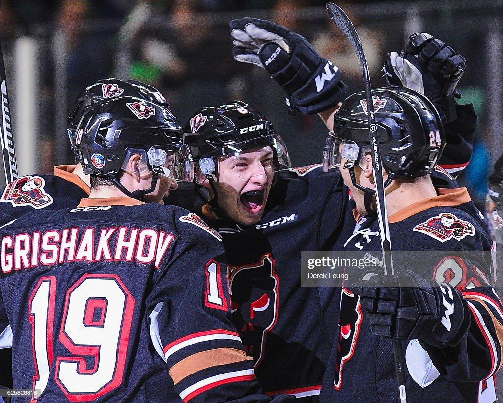 Vladislav Yeromenko #8 (C) of the Calgary Hitmen celebrates after scoring against the Moose Jaw Warriors during a WHL game at Scotiabank Saddledome on November 25, 2016 in Calgary, Alberta, Canada.