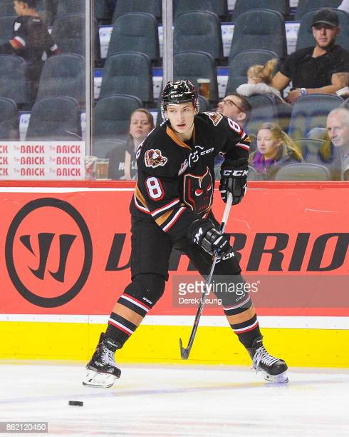 Vladislav Yeryomenko of the Calgary Hitmen in action against the Lethbridge Hurricanes during a WHL game at the Scotiabank Saddledome on October 15,...