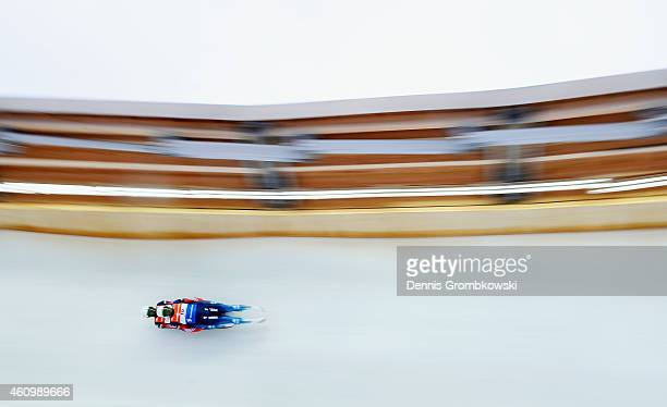 Vladislav Yuzhakov and Vladimir Prokhorov of Russia compete in the 1st run of the Doubles FIL Luge World Cup Koenigssee at Deutsche Post Eisarena on...
