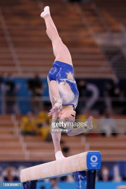 Vladislava Urazova of Team ROC competes on balance beam during the Women's Team Final on day four of the Tokyo 2020 Olympic Games at Ariake...