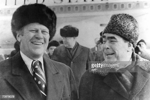 This file picture shows late US President Gerald Ford talking with Secretary of the Central Committee of the Soviet Union Leonid Brezhnev in...