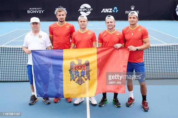 Vladmir Albot, Alexander Cozbinov, Radu Albot, Egor Matvievici and Dmitrii Baskov of team Moldova pose at ATP Cup media day ahead of the 2020 ATP Cup...