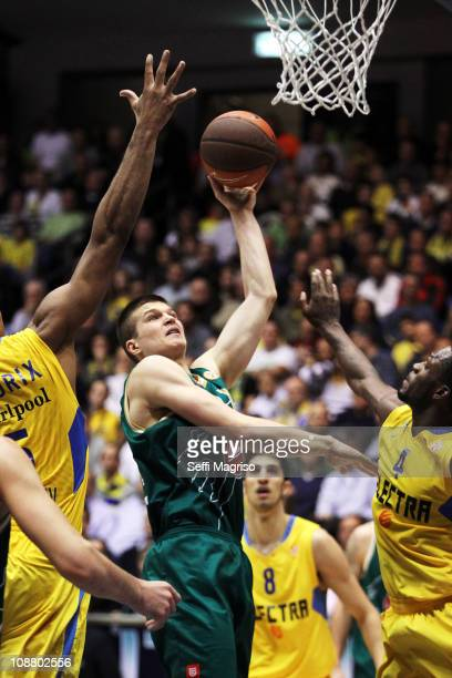 Vlado Ilievski #6 of Union Olimpija in action during the 20102011 Turkish Airlines Euroleague Top 16 Date 3 game between Maccabi Electra Tel Aviv vs...