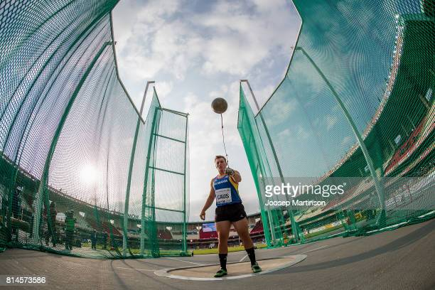 Vladut Gabriel Claus of Romania competes in the boys hammer throw final during day 3 of the IAAF U18 World Championships at Moi International Sports...