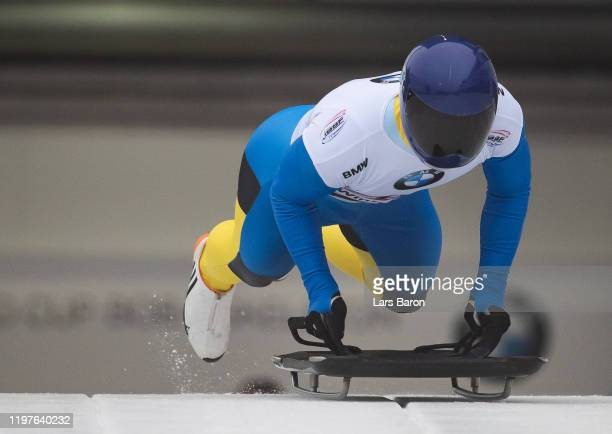 Vladyslav Heraskevych of Ukraine competes during the BMW IBSF Skeleton World Cup at Veltins Eis-Arena on January 05, 2020 in Winterberg, Germany.