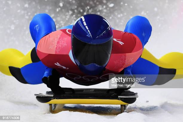 Vladyslav Heraskevych of Ukraine slides into the finish area during the Men's Skeleton heats at Olympic Sliding Centre on February 16, 2018 in...