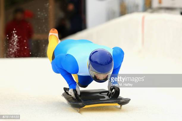 Vladyslav Heraskevych of Ukraine takes a training run in the Men's Skeleton during the BMW IBSF Bobsleigh + Skeleton World Cup at Utah Olympic Park...