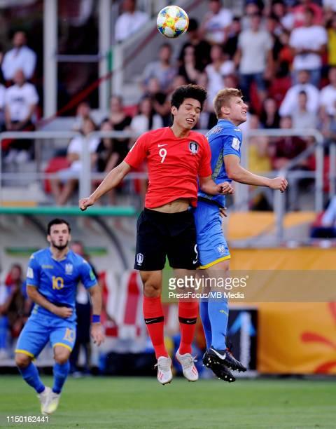 Vladyslav Kucheruk of Ukraine competes with Sehun Oh of Korea Republic during the FIFA U20 World Cup match between Ukraine and Korea Republic on June...