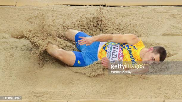 Vladyslav Mazur of the Ukraine competes in the men's long jump event on March 3 2019 in Glasgow United Kingdom