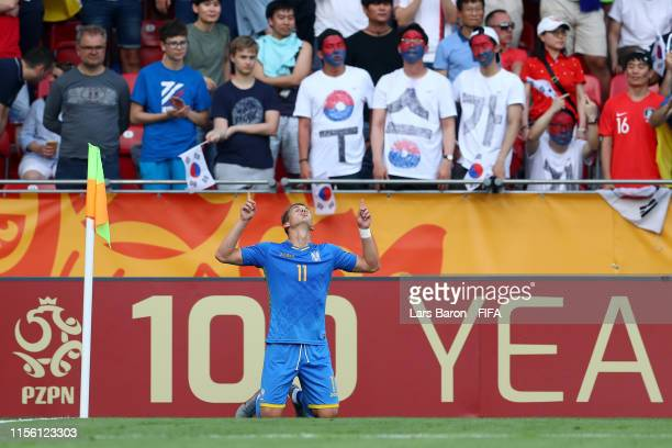 Vladyslav Supriaha of Ukraine celebrates after scoring his team's second goal during the 2019 FIFA U20 World Cup Final between Ukraine and Korea...